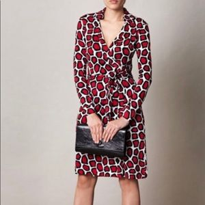 RareNWT DVF New Jeanne Two Dress Stone Leopard Red